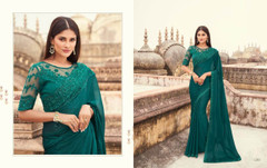Green color Two Tone Georgette Fabric Saree