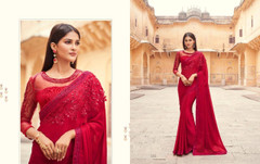 Red color Two Tone Georgette Fabric Saree