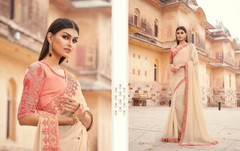 Beige color Two Tone Georgette Fabric Saree