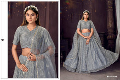 Grey color Soft Net Fabric Lehenga Choli