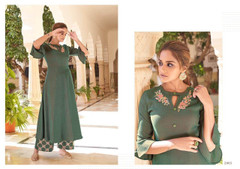 Green color Heavy Rayon Two Tone Fabric Top and Bottom
