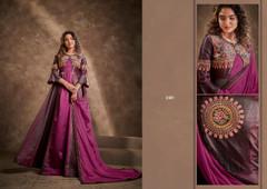Purple color Double shade Floor Length Silk Fabric Gown