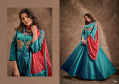 Blue color Double shade Floor Length Silk Fabric Gown