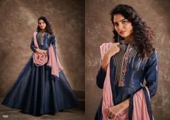 Light Navy Blue color Double shade Floor Length Silk Fabric Ban Neck Design Gown