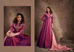Magenta color Double shade Floor Length Silk Fabric Ban Neck Design Gown