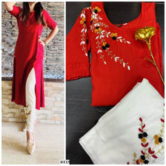 Red color Rayon Fabric Top and Bottom