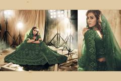 Green color Net Fabric Lehenga Choli