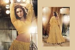 Golden color Net Fabric Lehenga Choli