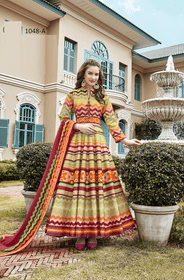 Multicolor Ankle Length Full Sleeves Heavy Pure Silk Fabric Gown