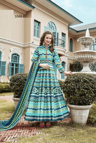 Blue color Ankle Length Full Sleeves Heavy Pure Silk Fabric Ban Neck Design Gown