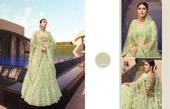 Olive Green color Embroidered Soft Net Fabric Lehenga Choli