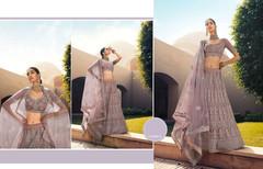 Greyish Light Mauve color Embroidered Soft Net Fabric Lehenga Choli