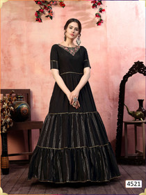Black color Silk Fabric Gown