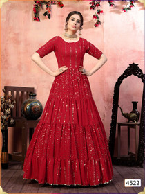 Red color Georgette Fabric Gown
