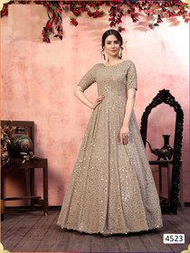 Coffee color Georgette Fabric Gown