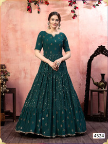 Green color Georgette Fabric Gown