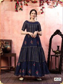 Navy Blue color Silk Fabric Gown