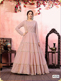 Baby Pink color Georgette Fabric Gown
