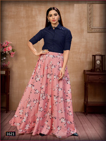 Pink and Navy Blue color Silk Fabric Top and Bottom