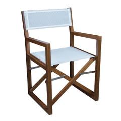 Whitecap Directors Chair w\/White Batyline Fabric - Teak [63061]