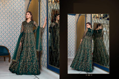Peacock Green color Full Sleeves Floor Length Net Fabric Centre Cut Indowestern style Suit