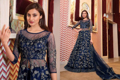 Royal Blue color Full Sleeves Floor Length Net Fabric Centre Cut Indowestern style Suit