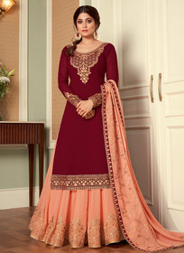 Maroon and Peach color Full Sleeve Floor Length Embroidered Georgette Fabric Indowestern style Suit