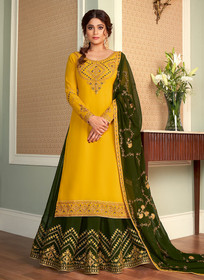 Yellow and Green color Full Sleeve Floor Length Embroidered Georgette Fabric Indowestern style Suit