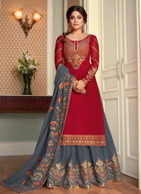 Red and Blue color Full Sleeve Floor Length Embroidered Georgette Fabric Indowestern style Suit