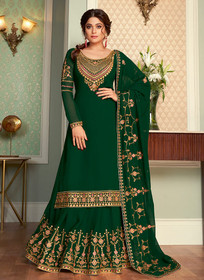 Green color Full Sleeve Floor Length Embroidered Georgette Fabric Indowestern style Suit