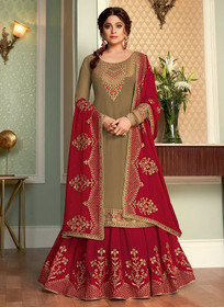 Coffee shade and Red color Full Sleeve Floor Length Embroidered Georgette Fabric Indowestern style Suit