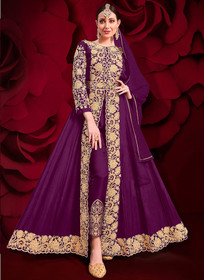 Purple color Pure Georgette Embroidered Full Sleeves Floor Length Centre Cut Indowestern style Suit