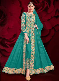 Blue color Pure Georgette Embroidered Full Sleeves Floor Length Centre Cut Indowestern style Suit