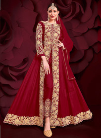 Red color Pure Georgette Embroidered Full Sleeves Floor Length Centre Cut Indowestern style Suit
