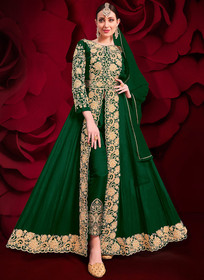 Dark Green color Pure Georgette Embroidered Full Sleeves Floor Length Centre Cut Indowestern style Suit