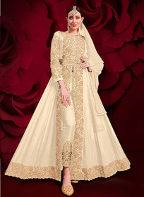 Cream color Pure Georgette Embroidered Full Sleeves Floor Length Centre Cut Indowestern style Suit