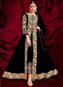 Black color Pure Georgette Embroidered Full Sleeves Floor Length Centre Cut Indowestern style Suit