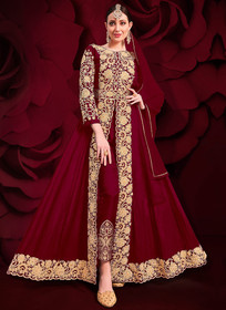 Maroon color Pure Georgette Embroidered Full Sleeves Floor Length Centre Cut Indowestern style Suit