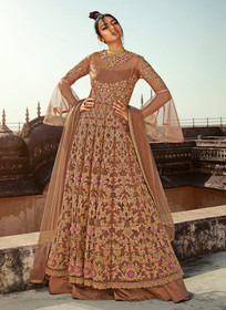 Brown color Butterfly Net Fabric Embroidered Full Sleeves Side Cut Floor Length Indowestern style Suit