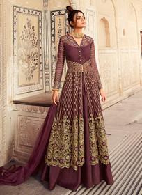 Wine color Butterfly Net Fabric Embroidered Full Sleeves Centre Cut Floor Length Indowestern style Suit