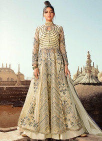 Cream color Butterfly Net Fabric Embroidered Full Sleeves Front Cuts Floor Length Indowestern style Suit