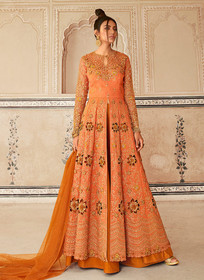 Orange color Butterfly Net Fabric Embroidered Full Sleeves Centre Cut Floor Length Indowestern style Suit
