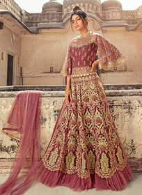 Onion color Butterfly Net Fabric Embroidered Full Sleeves Side Cut Floor Length Indowestern style Suit