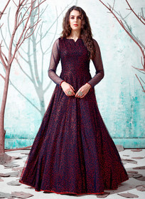 Royal Blue color Floor Length Full Sleeves Net Fabric Gown