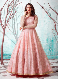 Pink color Floor Length Full Sleeves Net Fabric Gown