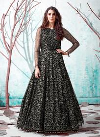 Black color Floor Length Full Sleeves Net Fabric Gown