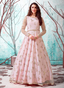 Powder Pink color Floor Length Full Sleeves Net Fabric Gown