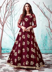 Maroon color Floor Length Full Sleeves Net Fabric Gown
