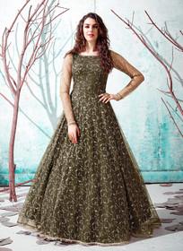 Light Mehndhi Green color Floor Length Full Sleeves Net Fabric Gown