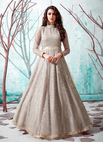 Grey color Floor Length Full Sleeves Net Fabric Ban Neck Design Gown